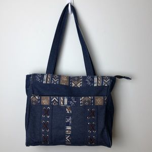 Canyon Sky Southwest Inspired Denim Tote